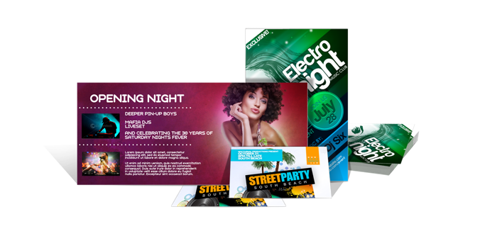Business flyers club card flyers die cut flyers nightclub flyers
